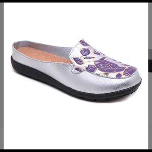 Shoes - Silver & Purple Leather Mule